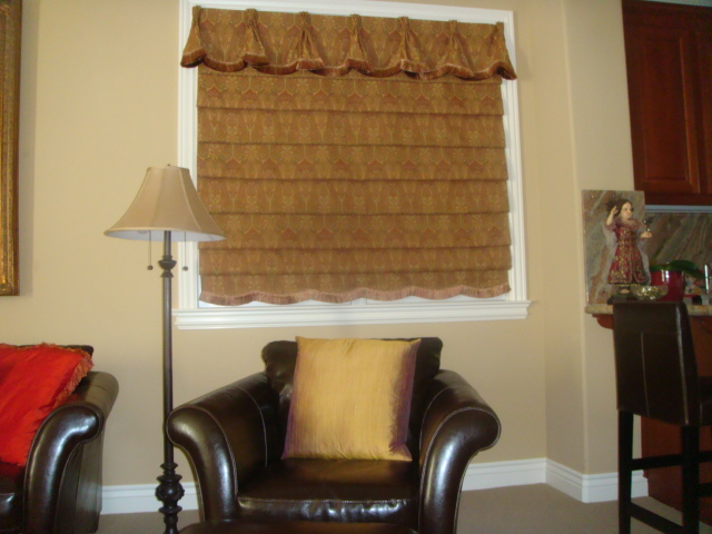ROMAN SHADE WITH VALANCE OVER